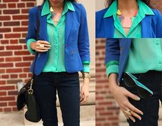 Blue blazer and green blouse love these colors Mint Blouse, Green Blouse, Blazer Verde, Peach Blazer, Work Looks, Jeans Dress, European Fashion, Fashion Outfits, Womens Fashion