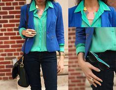 Blazer Azul BIC + Camisa Verde Agua + Bolsa Alexa Preta + Calça Preta