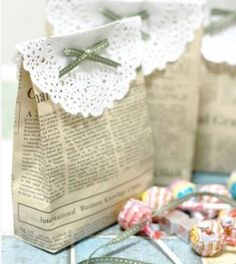 DIY Wedding Table Decoration Ideas | Newspaper Favor Bag | Click Pic for 20 Easy DIY Wedding Decorations
