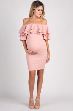 030774712870f Light Pink Layered Ruffle Off Shoulder Fitted Maternity Dress Off Shoulder  Maternity Dress, Fitted Maternity