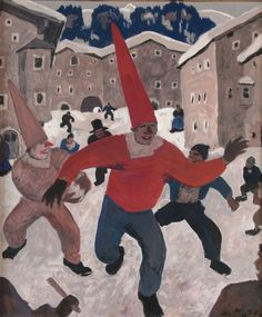 "theegoist: ""Alfons Walde (Austrian, - Carnival in Tirol, Tempera, pencil on paper, x cm "" Ernst Ludwig Kirchner, Composition Art, Ski Posters, Art Deco, Vintage Ski, Impressionist, Austria, Modern Art, Carnival"