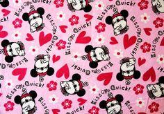 1 Yard Flannel Cotton Fabric -Disney cartoon character,Mickey Mouse,love,pink.