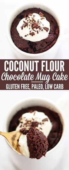 Coconut flour Paleo mug cakes. Three recipes! Ingredients: 2 tablespoons coconut flour ¼ teaspoon baking powder 1 egg 2 tablespoons natural peanut butter* 1-½ tablespoons melted coconut oil 1-½ tablespoons maple syrup (or other liquid sweetener) 1 tablespoon coconut milk (or almond milk) ¼ teaspoon vanilla extract optional: chocolate chips