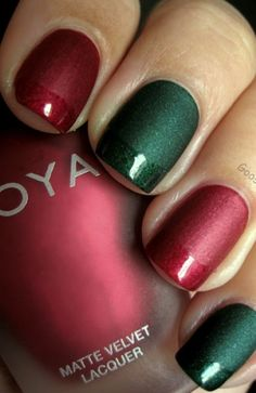 Matte Red and Green Christmas Nails