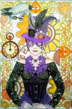Steampunk Fashions Colouring Page Done With Staedtler Ergo Soft Coloured Pencils