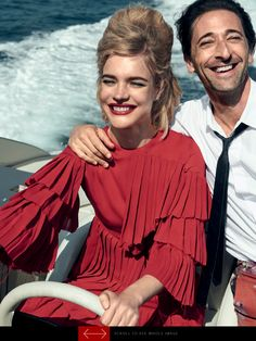 Vogue US July 2015 by Peter Lindbergh. Vacation time on a red sixties dress #vodianova #brody #gucci
