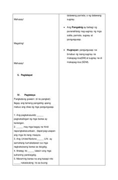 Detalyadong Banghay-Aralin sa Filipino V 4a's Lesson Plan, Lesson Plan Examples, Lesson Plan In Filipino, How To Plan