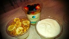 Greek Yogurt Parfait (honey, berries, granola), 0% Plain Greek Yogurt, Banana Parfait (low fat yogurt, bananas, granola)