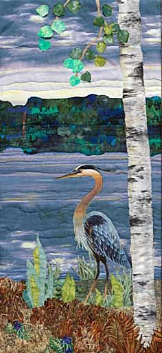Fabric Art Painting: Dawn on the Lake - for sale