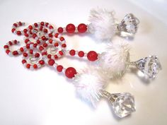 3 Seussical Snowball Christmas Candy Cane Icicle Ornaments with Diamond Dangles on Spiral Beaded Hooks