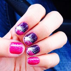 Pink purple feather glitter nails
