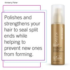 Polish and strengthen your hair to seal split ends... BONUS: Keep new ones from forming! (as seen in KimberlyFisher.com)