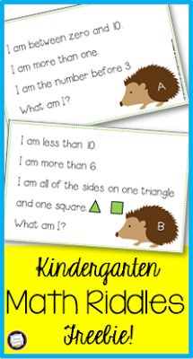 Try These Free Kindergarten Math Riddles! Primary Inspiration: Try These Free Kindergarten Math Riddles! Preschool Math, Math Classroom, Teaching Math, Classroom Freebies, Math Activities For Kindergarten, Differentiated Kindergarten, Montessori Classroom, Primary Teaching, Primary Maths