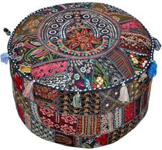 Made of vibrant recycled fabrics with embellishments and Indian patchwork, our exclusive pouf is a brilliant extra seating solution. This portable pouf adds color and comfort to any room. Heavyweight,