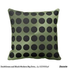 DarkGreen and Black Modern Big Dots Print