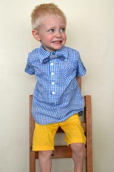 Simple boy's Summer Dress Shirts using the Mulberry Tunic sewing pattern Handmade Boy's Button Up Shirts // heatherhandmade.com