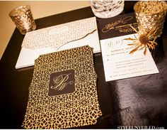 EAST SIX Invitations / Christopher Todd Studios / A Good Affair Wedding and Events / Gold and Black Chevron Wedding Ideas / Style Unveiled | eastsix.com