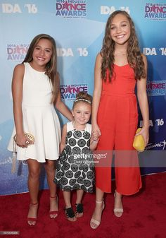 Mackenzie Ziegler and Maddie Ziegler with their cousin Natalya Burkey (center) at the 2016 Industry Dance Awards And Cancer Benefit Show at Avalon on August 17, 2016 in Hollywood, California.