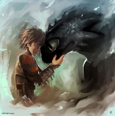 hiccup and toothless by AkiMao on deviantART Dragon tip: a dragons bond cannot ever be broken. Ever.