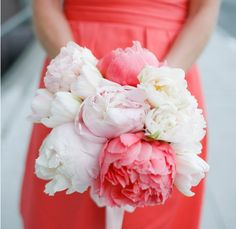 White and coral peony bouquet