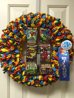 A memorial wreath to honor my grandson who turns three in heaven.   By Twentycoats Wreath Creations (2016)