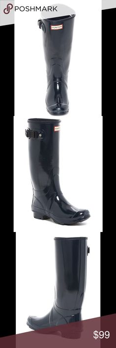 """HUNTER Original Huntress Waterproof Boot $150.00 Classic rubber rain boot offers durable, wet-weather protection and is updated with a roomier shaft for added comfort. Adjustable buckle at the top adds a stylish touch, while the textured rubber sole provides enhanced traction.  These are used but still look great- minimal signs of wear- no defects - no box- offers welcome - thank you 😊   - Round toe - Adjustable buckle strap top and pull-on closure - Rubber construction - Approx. 14"""" shaft…"""