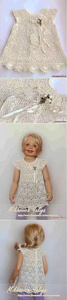Мастер-класс платья для малышки связанного крючком .