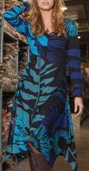 Robe évasée et fendue Ethnique et Originale Lizzy Bleue est disponible sur le site www.akoustik-online.com.