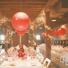 vintage circus theme with giant red balloons throughout