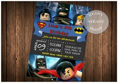 ======= This listing is for a digital invitation ======== NO PHYSICAL INVITATION WILL BE POSTED!!! The listing is for a Lego Superman and