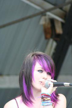 "black hair with purple underneath"" data-componentType=""MODAL_PIN Purple Black Hair, Blonde With Pink, Magenta Hair, Purple Underneath Hair, Unnatural Hair Color, Scene Hair, Emo Scene, Hair Highlights, Bright Highlights"