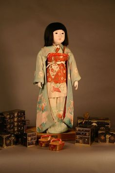 This doll is Miss Okayama, one of the Japanese Friendship Dolls sent to the U.S. in 1927. She represents Okayama Prefecture, which is located in the Chugoku region of southern Honshu. She is currently displayed at North Dakota State University.