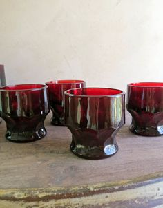 4 Anchor Hocking Georgian, Ruby Red Tumblers. Georgia Ruby Glassware,  Red Thumbprint  Tumbler by MinniesFlea on Etsy