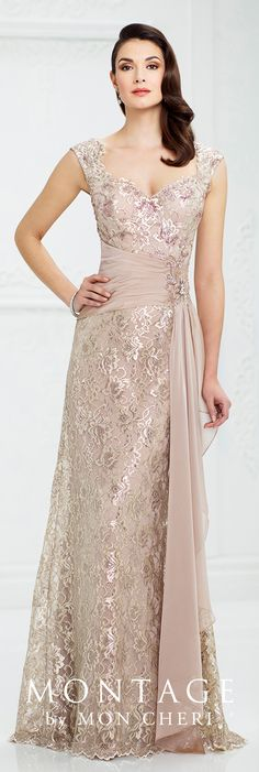 Formal Evening Gowns by Mon Cheri - Fall 2017 - Style No 217954 - champagne metallic lace slim A-line evening dress with wide shoulder straps