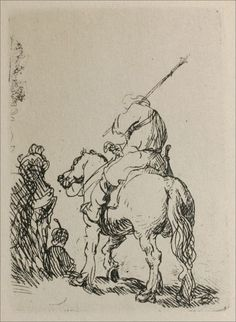 Turbaned Soldier on Horesback - Rembrandt van Rijn Rembrandt Etchings, Rembrandt Drawings, Figure Drawing, Painting & Drawing, Drawing Sketches, Art Drawings, Dutch Painters, Leiden, Horse Art