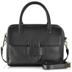 Tila March Handbags Zelig Small Boston Leather Handbag (398,545 KRW) ❤ liked on Polyvore featuring bags, handbags, shoulder bags, black, leather flap handbags, genuine leather shoulder bag, man leather shoulder bag, leather purses and handbag purse