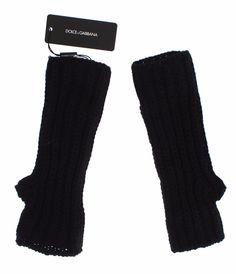 Black Fingerless Cashmere Mens Gloves