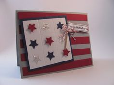 4th of July card using the Merry Mini's Punch Pack star punch and interspersing Glimmer Paper stars in it.