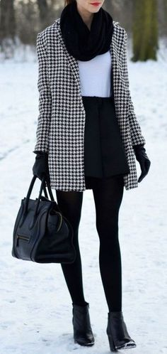 / houndstooth coat школа mode, kleid winter и outfit. Stylish Winter Outfits, Winter Outfits For Work, Casual Winter, Trendy Outfits, Fall Outfits, Winter Office Wear, Winter Wear, Winter Work Clothes, Winter Clothes Women