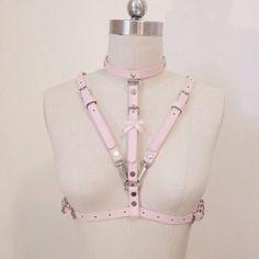 панк кожа розовый корсет декор металл