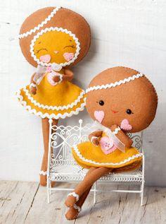 PDF. Gingerbread girls .Plush Doll Pattern, Softie Pattern, Soft felt Toy Pattern.. $7.00, via Etsy.