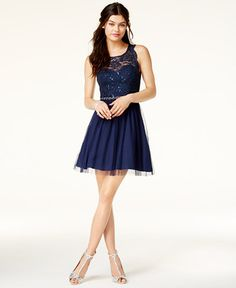 $89 Sequin Hearts Juniors' Illusion Open-Back Fit & Flare Dress
