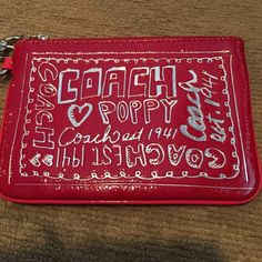 Coach Poppy Wristlet Brand New Brand New Never Used but tags have been cut off and there is no coach tag hanging off the side either perfect condition. 15.2 cm x10.1 cm  I am selling this for a friend and I have been searching on line for one line it and haven't seen any. Should the strap part be red and not pink ? Coach Bags Clutches & Wristlets