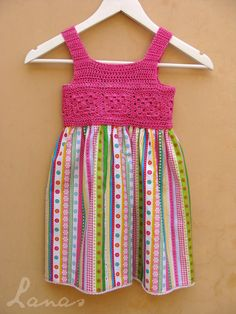 Discover thousands of images about (Crochet) I made this cotton dress for the daughter of a friend… Hace poco hice este vestido para la hija de una amiga… . Crochet Yoke, Crochet Fabric, Crochet Girls, Love Crochet, Crochet For Kids, Black Crochet Dress, Little Dresses, Baby Dresses, Crochet Clothes
