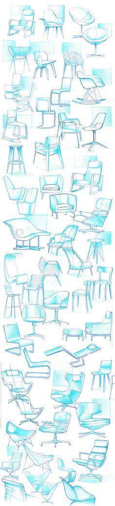 Produktdesign-Skizzenbuch - Hints for Women Interior Design Sketches, Industrial Design Sketch, Sketch Design, Design Art, Portfolio Design, Sketch Inspiration, Design Inspiration, Chair Design, Furniture Design