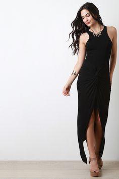 Jersey Knit Twisted-Front Sleeveless Dress