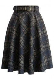 Subtle Plaids Belted Wool Skirt
