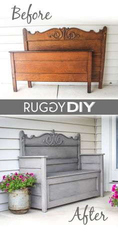 DIY headboard bench - my happy simple lifeDIY headboard bench DIY headboard bench tutorial. Find out how to make a headboard bench. In this simple tutorial you will find a DIY headboard bench. This headboard Refurbished Furniture, Repurposed Furniture, Painted Furniture, Bench Furniture, Furniture Ideas, Furniture Stores, Antique Furniture, Refurbished Headboard, Modern Furniture