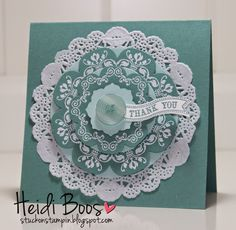 Stampin' Up! ... handmade card from Stuck on Stampin' ... monochromatic Lost Lagoon ... beatutiful medallion on a doily ... white embossing from Daydream Medallions ... die cut with Floral Framelits ... great card!