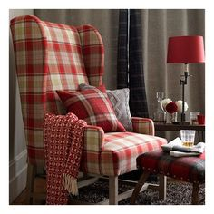 Country living room with tartan armchair ❤ liked on Polyvore featuring backgrounds and red